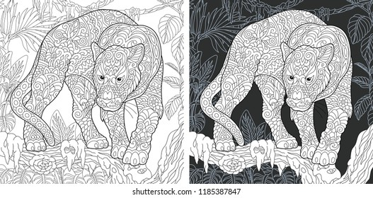 Animal. Coloring Page. Coloring Book. Colouring picture with panther drawn in zentangle style. Antistress freehand sketch drawing. Vector illustration.