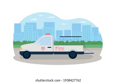 Animal control truck 2D vector web banner, poster. Vehicle to catch stray dogs. Automobile on city road flat scenery on cartoon background. Homeless pet rescue printable patch, colorful web element