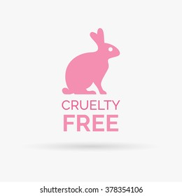 Animal cruelty free icon design symbol. Product not tested on animals sign with pink bunny rabbit. Vector illustration.