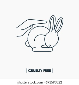 Animal cruelty free logo. Not tested on animals symbol. Rabbit in hands