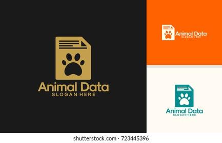 Animal Data logo designs, Pet Document logo template vector