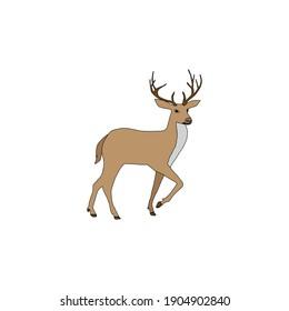 animal deer fill line icon vector illustration