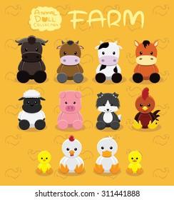 Animal Dolls Farm Set Cartoon Vector Illustration