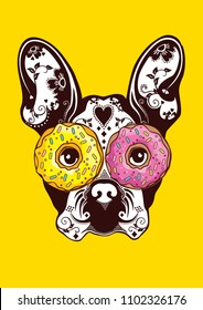 Animal with donut, crazy donut love, printable donut art poster, trendy donut vibes, Eat big food