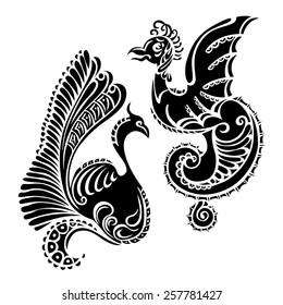 animal dragon black bird decorative art tattoo