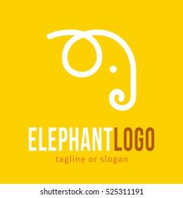 ANIMAL ELEPHANT LINE LOGO ICON SYMBOL EMBLEM TEMPLATE