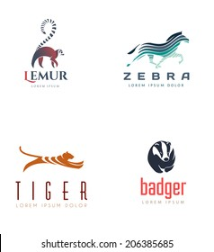 Animal Emblem Collection. Isolated On White Background - Vector Illustration, Logo Design Elements.