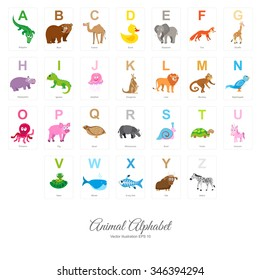 Animal English Alphabet, colorful vector illustration isolated on white background