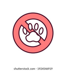 Animal extinction RGB color icon. Pet violence and cruelty. Endangering species. Biodiversity loss. Stop animal abuse. Illegal hunting in wildlife conservation. Isolated vector illustration