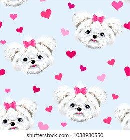 Animal face dog muzzle white Maltese with pink bow background with hearts seamless vector pattern