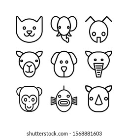 Animal face icon vector illustration logo template for many purpose.Isolated on white background