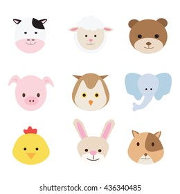 animal face set. vector collection funny animals. Cute animals: forest, farm, domestic, polar in cartoon style.