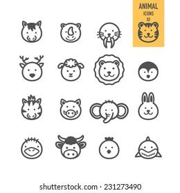 Animal face set. Vector illustration.