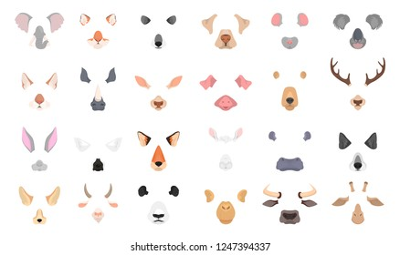 Animal face for video chat or selfie effect. Funny dog and cat mask with nose and ears. Isolated vector illustration in cartoon style