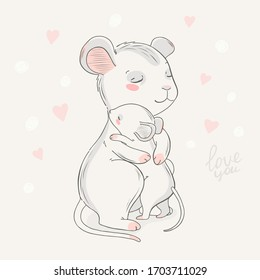 Animal family character. Vector illustration. Mom and baby. Happy mother's day. Mom I love you.