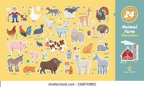 Animal farm characters set with farmer, dog, barn, cow, sheep, donkey, pig, chicken, rooster, duck, turkey, goat, bull, calf, ostrich, rabbits, cats, goose, lama, horse, guinea fowl funny collection.