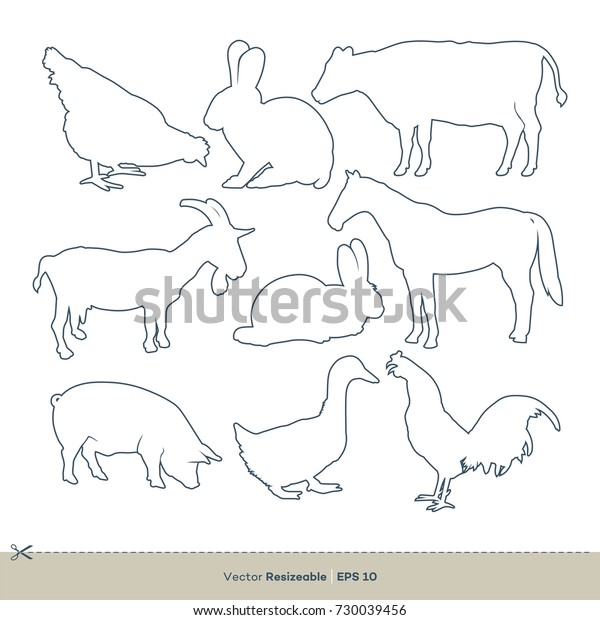 Animal Farm Line Art Logo Template Stock Vector Royalty Free 730039456