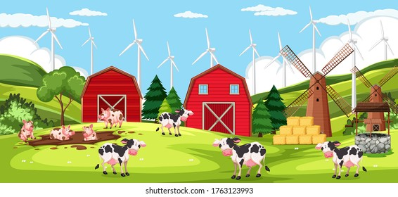 Animal farm on farm background scene illustration