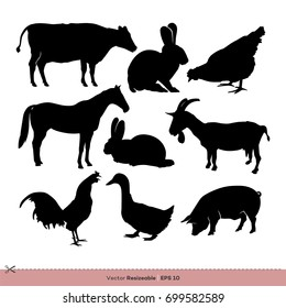 Animal Farm Silhouette Set Vector Logo Template Illustration Design. Vector EPS 10.