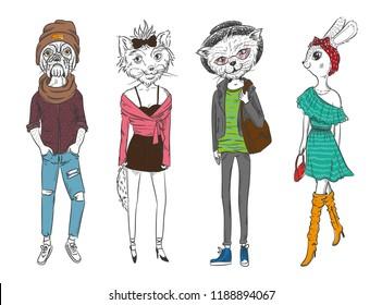 animal fashion. dog, hare, cat, fox. clothing trend, vector