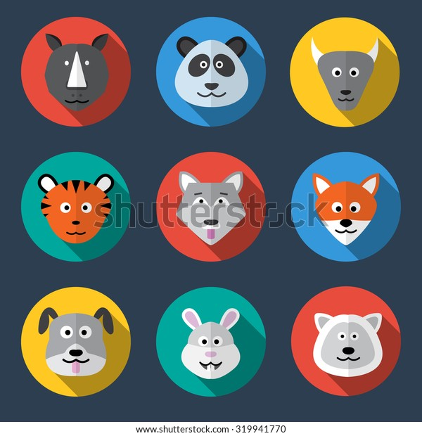 animal flat style icon set vector