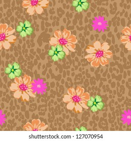 animal floral seamless background