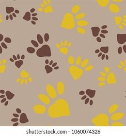 Animal Foot Prints Seamless Pattern
