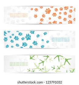 Animal footprint banners - vector illustration