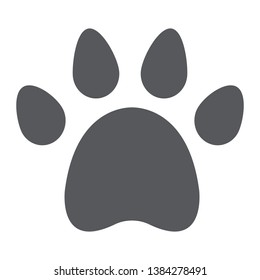 Animal footprint glyph icon, pet and trace, paw sign, vector graphics, a solid pattern on a white background, eps 10.