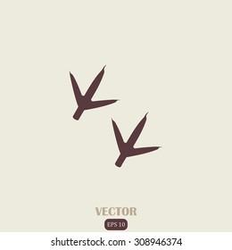 Animal footprint, hen vector icon