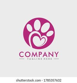 Animal footprint logo design and a symbol of love