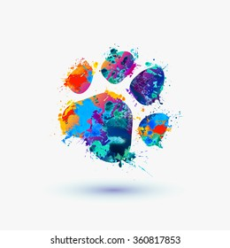 animal footprint. Rainbow splash icon for pet shop