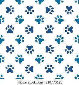 Animal footprint seamless pattern - blue pet paw vector texture