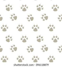 Animal footprint seamless pattern. Paw