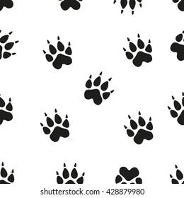 Animal footprint seamless pattern. Paw.
