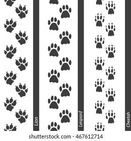 Animal footprints seamless border set. Vector footprint lion leopard and cheetah