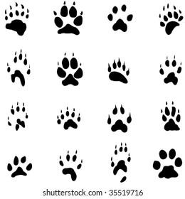 Animal footprints silhouette