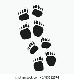 Animal footprints and tracks isolated on white for wildlife concept design.