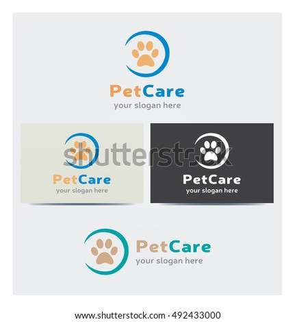 Animal Footstep Icon Logo Pet Care Stock Vector Royalty Free