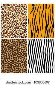 Animal fur patterns (cheetah, tiger, giraffe and zebra)
