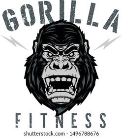 Animal Gorilla Fitness Logo vector