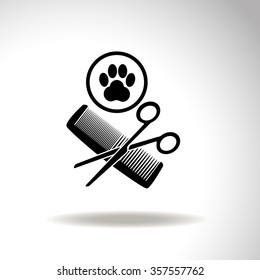 Animal grooming with paw, hairbrush and scissors. Universal icon to use in web and mobile UI