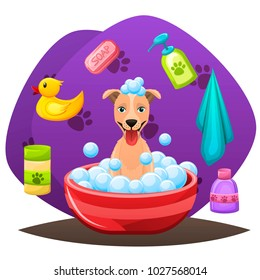 Animal grooming salon illustraion. Dog having bath in water with soap,shampoo and bubbles. Dog hair hygiene. Pet shop concept