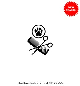 Animal grooming vector icon isolated on white background.