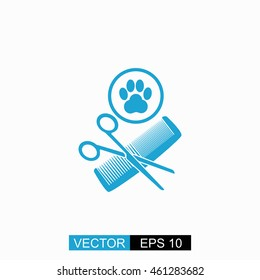 Animal grooming vector. Isolated blue icon on white background.