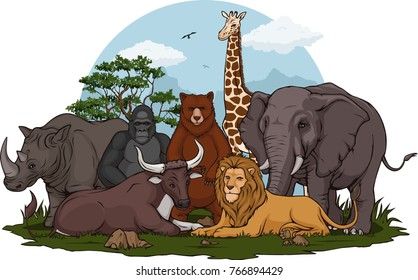 Animal Groups Illustration
