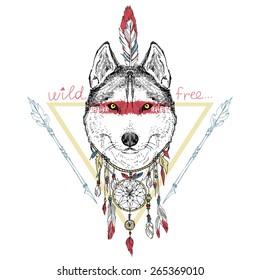 animal hand drawn illustration, wolf indian warrior,  native american poster
