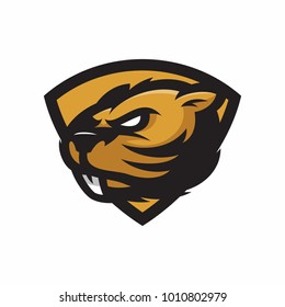 Animal Head - Beaver - vector logo/icon illustration mascot