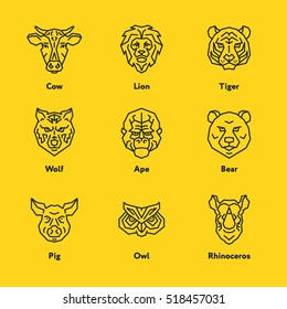 Animal Head Face Cow Lion Tiger Pig Owl Rhinoceros Wolf Ape Bear Vector Emblem Minimalistic Geometric Line Icon Set