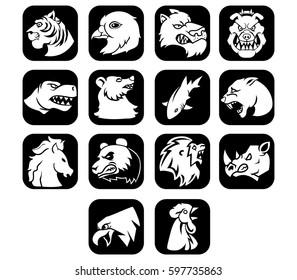 Animal Head Flat Icon Black Button